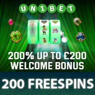 Unibet Casino - 200 free spins gratis and 200% free bonus on deposit