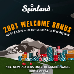 Spinland Casino 200 gratis spins   200% bonus up £3,000 on 1st deposit!