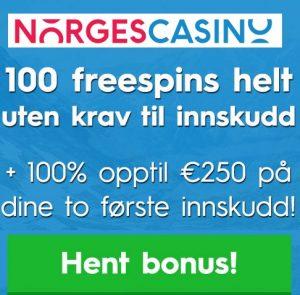 Norges Casino 100 gratis spins bonus uten innskud for nye spillere!