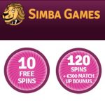 Simba Games 130 free spins and $300 free bonus on casino pokies