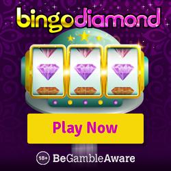BINGO DIAMOND   150 free spins + 300% up to £300 casino bonus