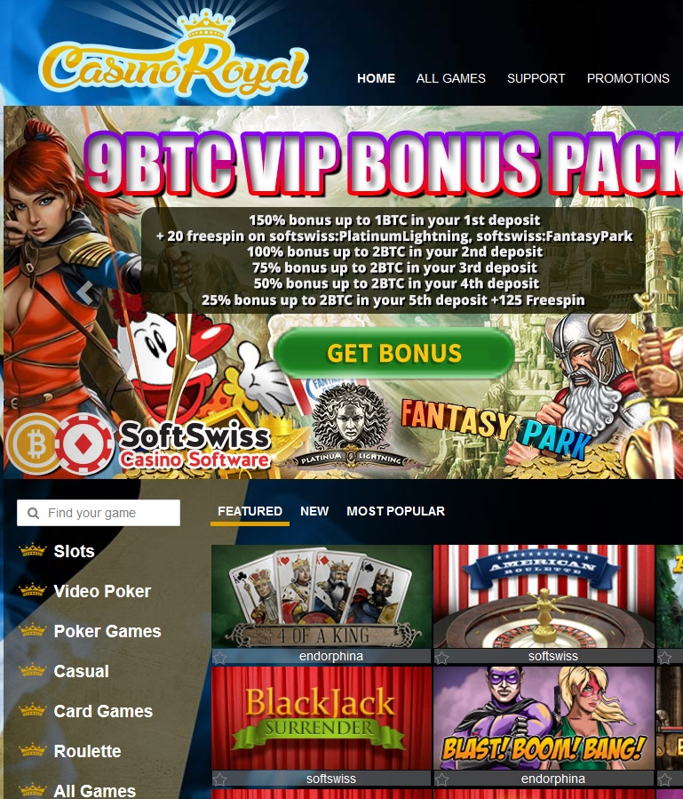 CasinoRoyal.one 9 BTC bonus