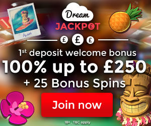 Dream Jackpot Casino - £900 gratis and 75 bonus spins on jackpot slots