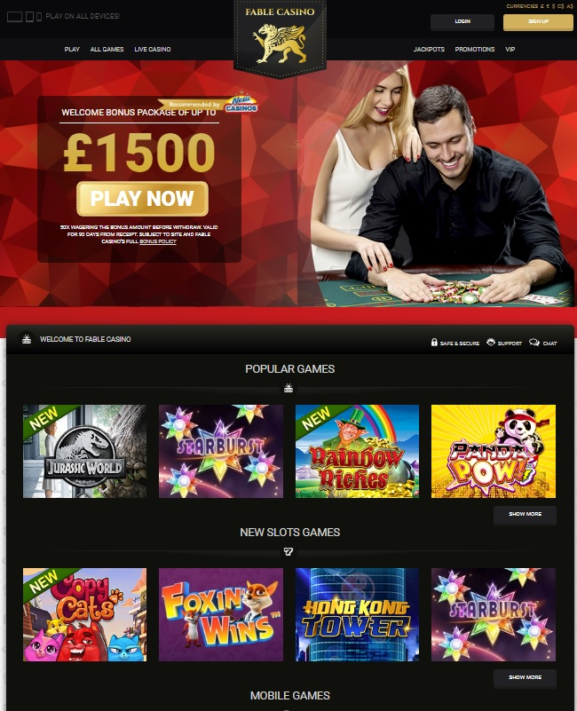 Fable Casino Free Bonus Spins