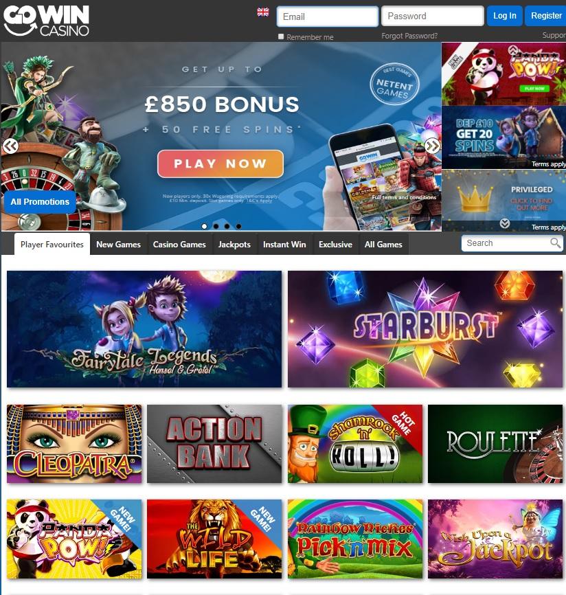GoWin.co.uk Casino 50 free spins bonus