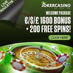 Joker Casino 10 free spins no deposit   €1600 bonus   190 gratis spins