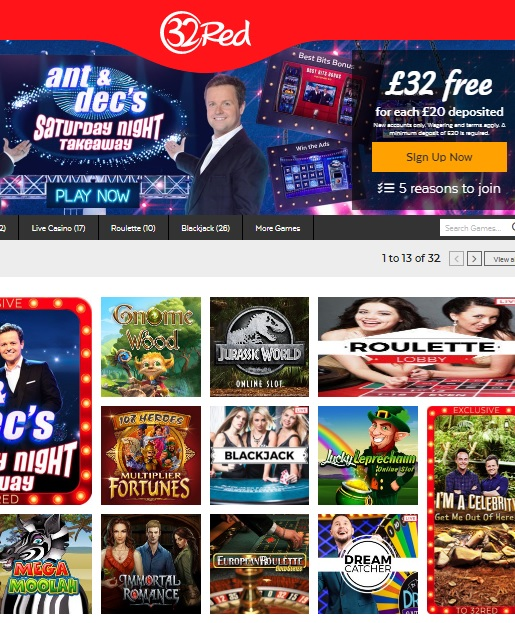 32 Red Casino free spins bonus