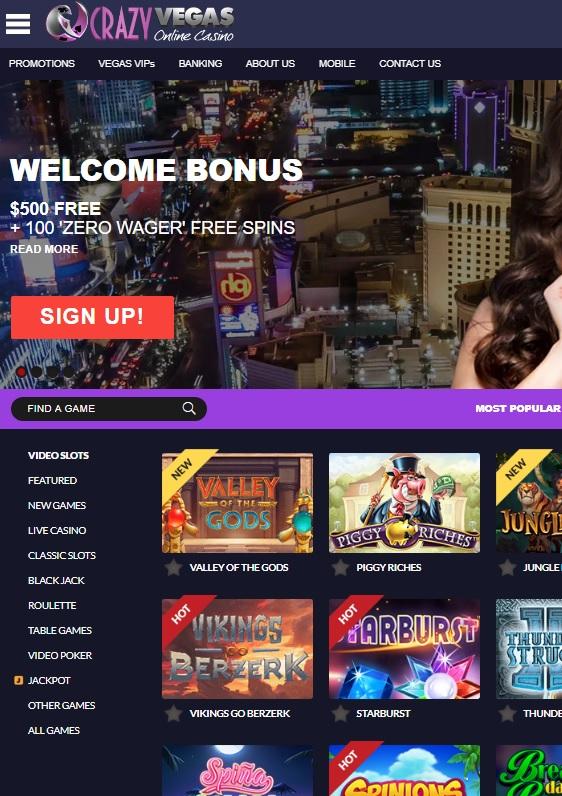 CrazyVegas.com Online Casino Review