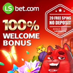 LsBet Casino 20 free spins   100% up to 300 euro   no deposit bonus