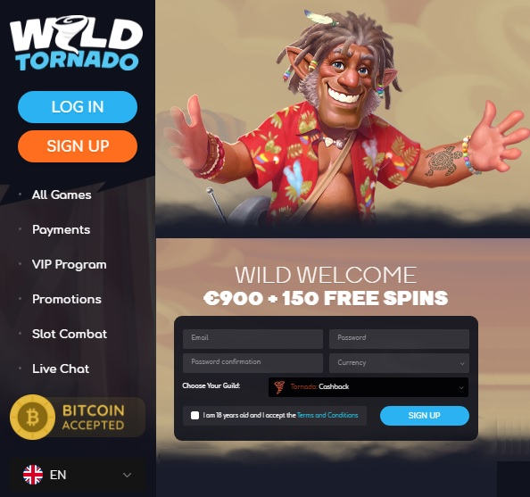 WildTornado Casino free spins bonus