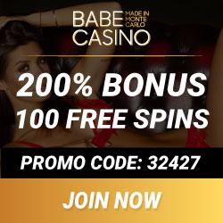 Babe Casino 100 gratis spins + 100% highroller bonus up to €2500
