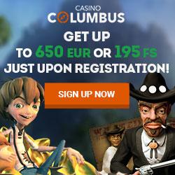 Columbus Casino   20 free spins no deposit   €650 bonus   195 FS