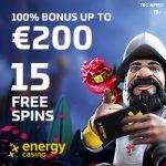 EnergyCasino (review) 15 gratis spins   €400 bonus   55 free spins