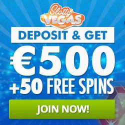 Slotty Vegas™ 50 extra free spins and 100% bonus up to €500