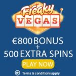 Freaky Vegas Casino 25 free spins no deposit   €800 bonus   500 FS