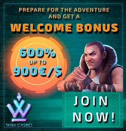 Wira Casino €/$1000 free bonus and free spins on 1st deposit!