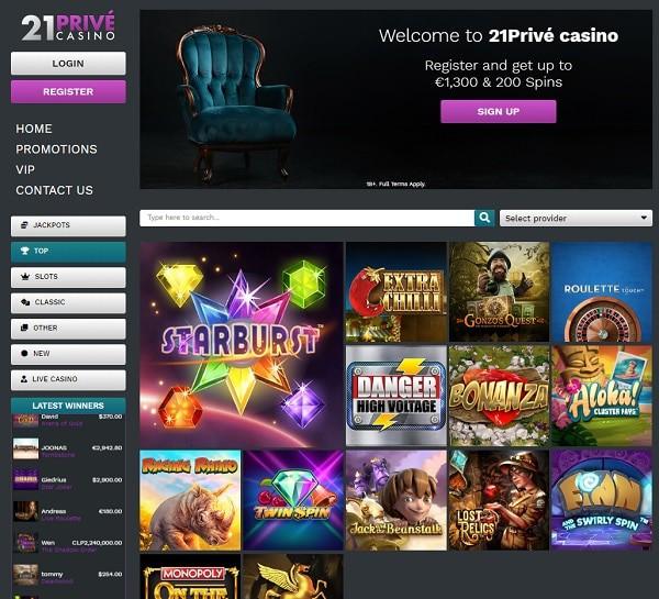 21 Prive Casino Welcome Bonus & Free Spins