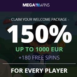 Megawins Casino 150% up to 1000€ or 1 BTC bonus   180 free spins