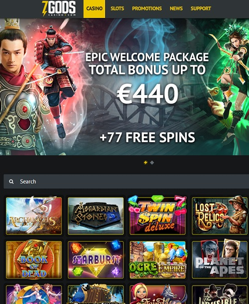 7 Gods Casino free bonus and gratis spins