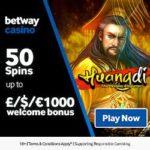 Betway Casino 50 free spins (Microgaming) & £1,000 deposit bonus
