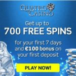 Quatro Casino [register & login] 700 free spins + €100 free bonus