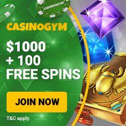 CasinoGym Casino Review: 100 free spins + $1000 in deposit bonuses