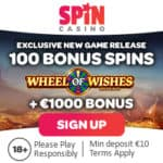 Spin Casino 100 free spins on jackpot + €1000 welcome bonus
