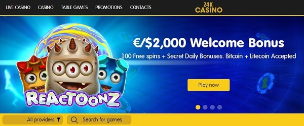 24K welcome bonus and gratis spins