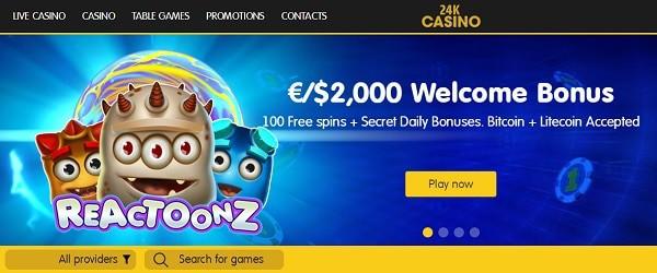 24K welcome bonus and gratis spins