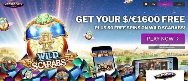 50 Free Spins (on deposit) on Wild Scarabs slot