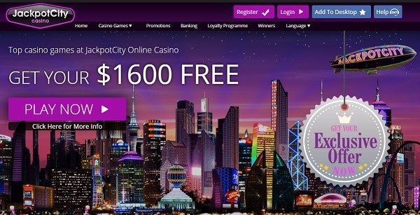 Jackpot City Casino 1600 free credits and free spins bonus