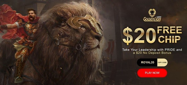 Golden Lion Casino $20 free chip bonus