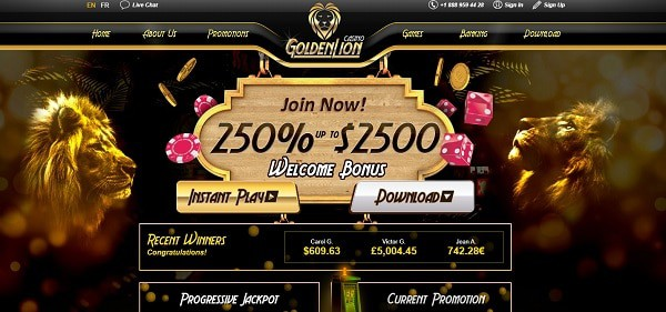 Golden Lion Casino 250% welcome bonus