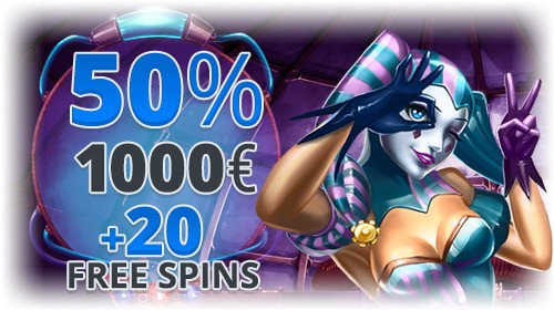 50% up to 1,000 EUR and 20 free spins