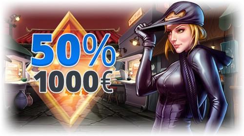 50% up to 1,000 EUR free bonus