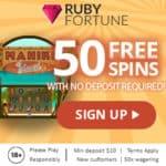 Ruby Fortune Casino 50 free spins no deposit bonus (NEW)