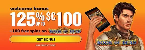 125% bonus + 100 free spins + reload bonus + cashback + tournament