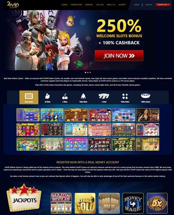 24VIP Casino free bonus, no deposit required, promotions