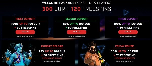 300 euro and 120 free spins in welcome bonus