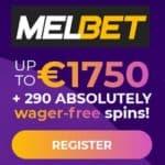 Melbet.com 290 free spins and 1750€ casino bonus (no wager!)