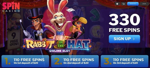 330 Exclusive Free Spins Bonus