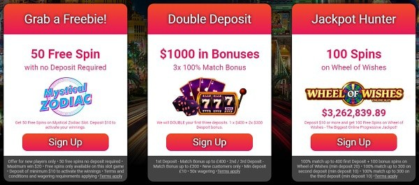 Three welcome bonuses to choose from