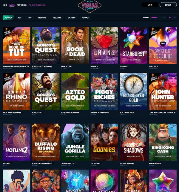 Neon Vegas Casino Free Spins Bonus