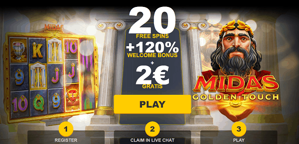 20 freespins and 120% welcome bonus up for grabs