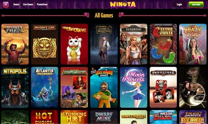 Play Winota Casino Games for FREE!