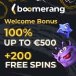 Boomerang Casino 100% welcome bonus and 200 free spins