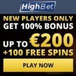 HighBet Casino Welcome Bonus: 100% extra + 100 free spins