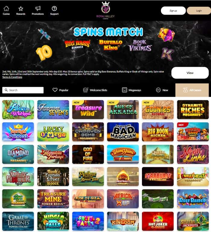 Royal Valley 150 free spins